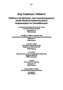 Bild der Titelseite der Publikation: disy Cadenza / GISterm - Plattform für Berichts- und Auswertesysteme sowie Geoinformationssysteme insbesondere im Umweltbereich