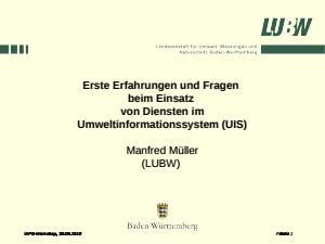 Bild der Titelseite der Publikation: Erste Erfahrungen und Fragen beim Einsatz von Diensten im Umweltinformationssystem (UIS) – WPS-Workshop 30.9.2010