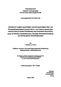 Bild der Titelseite der Publikation: Genetischer Vergleich geschädigter und nicht geschädigter Stiel- und Traubeneichenbestände in B.-W. unter besonderer Berücksichtigung von Standort, Bestandesaufbau, bisheriger Bestandesbehandlung und anthropogenen Umweltbelastungen