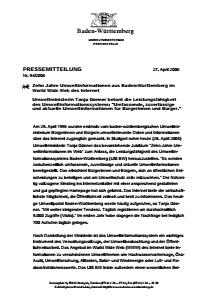 Bild der Titelseite der Publikation: Zehn Jahre Umweltinformationen aus Baden-Württemberg im World Wide Web des Internet