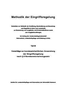 Bild der Titelseite der Publikation: LANA-Gutachten: Methodik der Eingriffsregelung (Teil III, Vorschläge zur bundeseinheitlichen Anwendung)