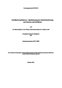 Bild der Titelseite der Publikation: Schallschutzpflanzen - Optimierung der Abschirmwirkung von Hecken und Gehölzen