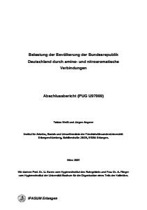 Bild der Titelseite der Publikation: Belastung der Bevölkerung der Bundesrepublik Deutschland durch amino- und nitroaromatische Verbindungen