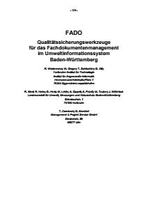 Bild der Titelseite der Publikation: FADO - Qualitätssicherungswerkzeuge für das Fachdokumentenmanagement im Umweltinformationssystem Baden-Württemberg