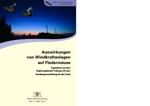 Bild der Titelseite der Publikation: Auswirkungen von Windkraftanlagen auf Fledermäuse