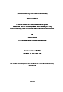 Bild der Titelseite der Publikation: Konstruktion und Implementierung von Passiven-InSitu-Adsorptions-Reaktoren (PISAR) zur Sanierung von schadstoffbelastetem Grundwasser
