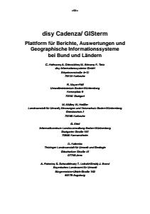 Bild der Titelseite der Publikation: disy Cadenza/ GISterm - Plattform für Berichte, Auswertungen und Geographische Informationssysteme bei Bund und Ländern