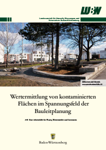 Bild der Titelseite der Publikation: Wertermittlung von kontaminierten Flächen im Spannungsfeld der Bauleitplanung