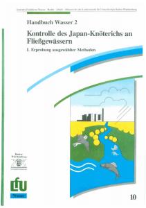 Bild der Titelseite der Publikation: Kontrolle des Japan-Knöterichs an Fließgewässern. Teil I