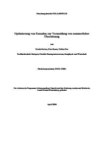 Bild der Titelseite der Publikation: Optimierung von Fassaden zur Vermeidung von sommerlicher Überhitzung