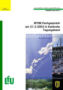 Bild der Titelseite der Publikation: MTBE-Fachgespräch am 21.2.2002 in Karlsruhe Tagungsband