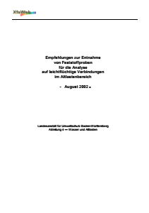 Bild der Titelseite der Publikation: Empfehlungen zur Entnahme von Feststoffproben für die Analyse auf leichtflüchtige Verbindungen im Altlastenbereich