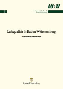 Bild der Titelseite der Publikation: Luftqualität in Baden-Württemberg