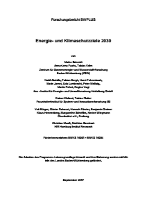 Bild der Titelseite der Publikation: Energie- und Klimaschutzziele 2030
