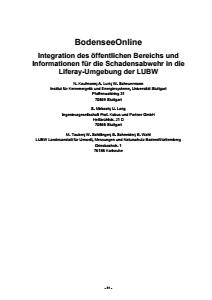 Bild der Titelseite der Publikation: BodenseeOnline - Integration des öffentlichen Bereichs und Informationen für die Schadensabwehr in die Liferay-Umgebung der LUBW