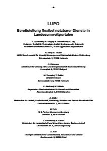 Bild der Titelseite der Publikation: LUPO - Bereitstellung flexibel nutzbarer Dienste in Landesumweltportalen
