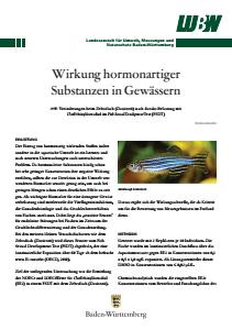 Bild der Titelseite der Publikation: Wirkung hormonartiger Substanzen in Gewässern