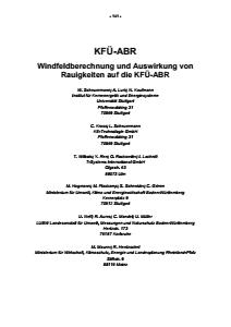 Bild der Titelseite der Publikation: KFÜ-ABR - Windfeldberechnung und Auswirkung von Rauigkeiten auf die KFÜ-ABR