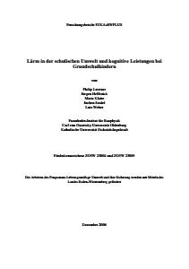 Bild der Titelseite der Publikation: Lärm in der schulischen Umwelt und kognitive Leistungen bei Grundschulkindern