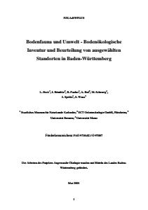 Bild der Titelseite der Publikation: Bodenfauna und Umwelt - Bodenökologische Inventur und Beurteilung von ausgewählten Standorten in Baden-Württemberg