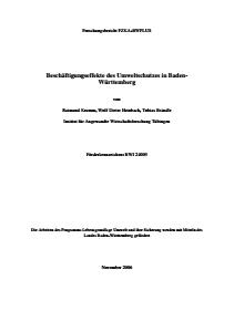 Bild der Titelseite der Publikation: Beschäftigungseffekte des Umweltschutzes in Baden-Württemberg