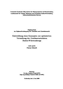 Bild der Titelseite der Publikation: Entwicklung eines Konzeptes zur optimierten Verwaltung der Gewässernetzdaten Baden-Württembergs