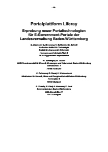 Bild der Titelseite der Publikation: Portalplattform Liferay - Erprobung neuer Portaltechnologien für E-Government-Portale der Landesverwaltung Baden-Württemberg