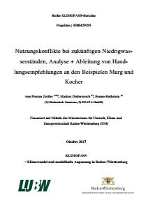 Bild der Titelseite der Publikation: Nutzungskonflikte bei zukünftigen Niedrigwasserständen, Analyse + Ableitung von Handlungsempfehlungen an den Beispielen Murg und Kocher