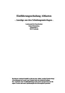 Bild der Titelseite der Publikation: Einführungsschulung Altlasten