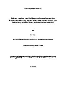 Bild der Titelseite der Publikation: Beitrag zu einer nachhaltigen und umweltgerechten Produktentwicklung mittels eines Testverfahrens für die Bewertung von Biofilmen an Oberflächen