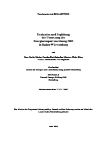 Bild der Titelseite der Publikation: Evaluation und Begleitung der Umsetzung der Energieeinsparverordnung 2002 in Baden-Württemberg