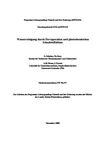 Bild der Titelseite der Publikation: Wasserreinigung durch Pervaporation und photochemischen Schadstoffabbau