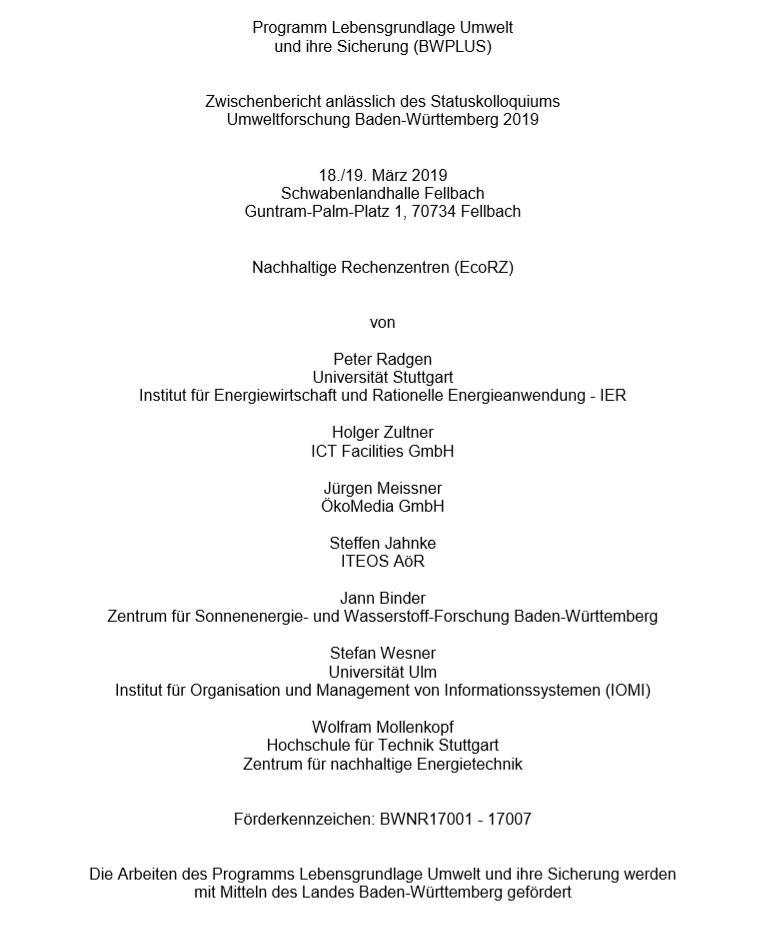 Bild der Titelseite der Publikation: Nachhaltige Rechenzentren