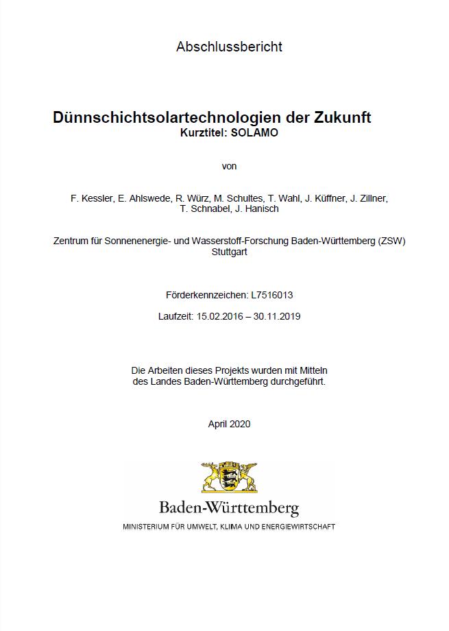 Bild der Titelseite der Publikation: Dünnschichtsolartechnologien der Zukunft