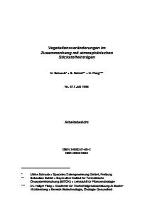 Bild der Titelseite der Publikation: Vegetationsveränderungen im Zusammenhang mit atmosphärischen Stickstoffeinträgen
