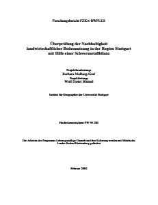 Bild der Titelseite der Publikation: Überprüfung der Nachhaltigkeit landwirtschaftlicher Bodennutzung in der Region Stuttgart mit Hilfe einer Schwermetallbilanz