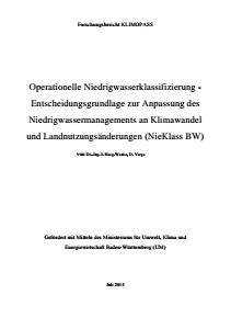 Bild der Titelseite der Publikation: Operationelle Niedrigwasserklassifizierung für baden-württembergische Gewässer