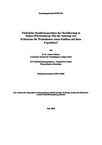 Bild der Titelseite der Publikation: Natürliche Strahlenexposition der Bevölkerung in Baden-Württemberg: Hat die Nutzung von Erdwärme für Wohnhäuser einen Einfluß auf diese Exposition?