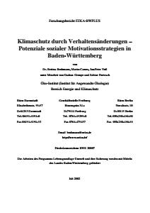 Bild der Titelseite der Publikation: Klimaschutz durch Verhaltensänderungen - Potenziale sozialer Motivationsstrategien in Baden-Württemberg