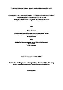 Bild der Titelseite der Publikation: Bestimmung des Risikopotentials bodengebundener Schadstoffe für den Menschen im Minischwein-Modell mit Cytochrom P450-Enzymen als Effektbiomarker