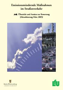 Bild der Titelseite der Publikation: Emissionsmindernde Maßnahmen im Straßenverkehr
