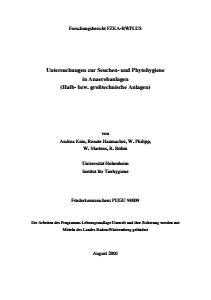 Bild der Titelseite der Publikation: Untersuchungen zur Seuchen- und Phytohygiene in Anaerobanlagen (Halb- bzw. großtechnische Anlagen)
