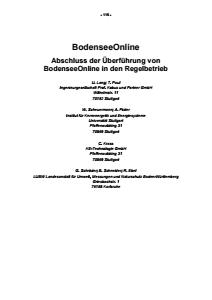 Bild der Titelseite der Publikation: BodenseeOnline - Abschluss der Überführung von BodenseeOnline in den Regelbetrieb