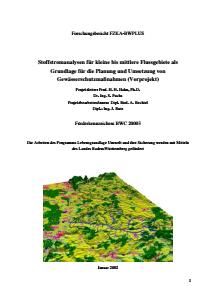 Bild der Titelseite der Publikation: Stoffstromanalysen für kleine bis mittlere Flussgebiete als Grundlage für die Planung und Umsetzung von Gewässerschutzmaßnahmen (Vorprojekt)