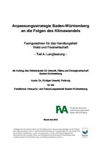 Bild der Titelseite der Publikation: Anpassungsstrategie an den Klimawandel - Fachgutachten für das Handlungsfeld Wald und Forstwirtschaft