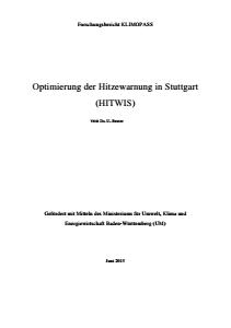 Bild der Titelseite der Publikation: Optimierung der Hitzewarnung in Stuttgart (HITWIS)