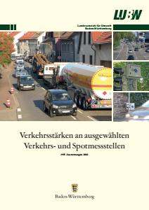 Bild der Titelseite der Publikation: Verkehrsstärken an ausgewählten Verkehrs- und Spotmesstellen. Auswertungen 2016