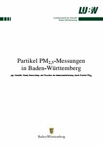 Bild der Titelseite der Publikation: Partikel PM2,5-Messungen in Baden-Württemberg