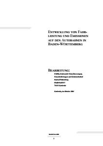 Bild der Titelseite der Publikation: Entwicklung von Fahrleistung und Emissionen auf den Autobahnen in Baden-Württemberg