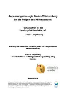 Bild der Titelseite der Publikation: Anpassungsstrategie an den Klimawandel - Fachgutachten für das Handlungsfeld Landwirtschaft